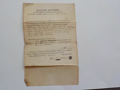 Antique Document 1838 Sheriff Madison County Tennessee Jackson Court Paper VTG N