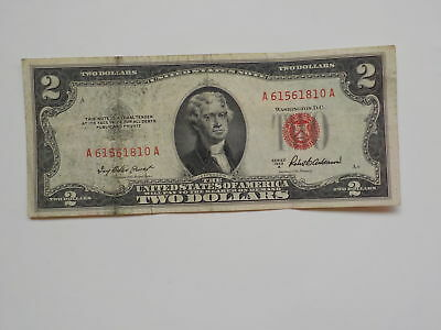 Currency Note 1953 2 Dollar Bill Red Seal Note Paper Money United States USA