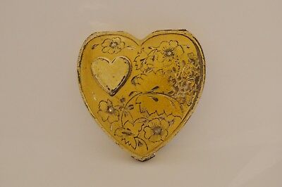Vintage Hingeco Sterling Silver Two-tone Floral Heart Compact 1950's 59gr.