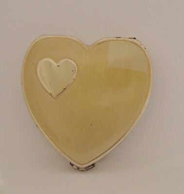 Vintage Hingeco Sterling Silver Heart Compact 1950's 57gr.