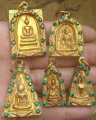 5 Locket Benjapakee The Five Grand Set,Gild Gold Bronze Diamond Ruby&relic Stone