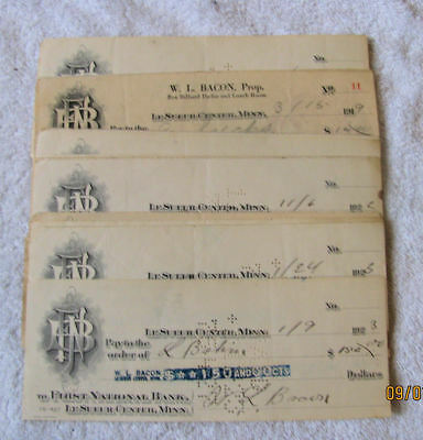 20 First National Bank Le Sueur Center Minnesota Checks Paper Ephemera