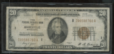 1929 One Twenty Dollar  Bill 20.00  Good National Currency Bank Note Minneapolis