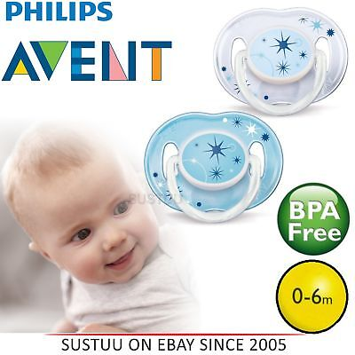 Avent Glow in Dark Orthodontic Baby Soother Pacifier Dummy Night Time 0-6m