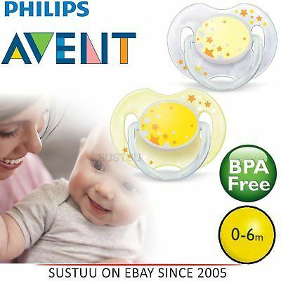 Avent Glow in Dark Orthodontic Baby Soother Pacifier Dummy Night Silicone Ylw