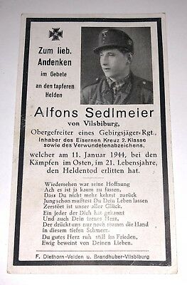 Original German WWII •DEATH CARD• ELITE GEBIRGSJÄGER SOLDIER Eastern Front 1944