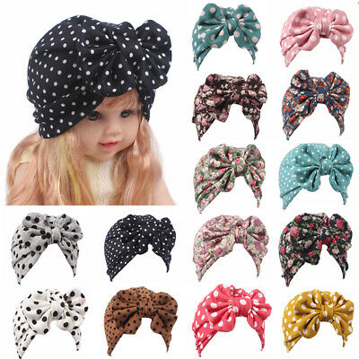 Cute Newborn Toddler Kids Baby Girl Bow Turban Cotton Beanie Hat Winter Warm Cap