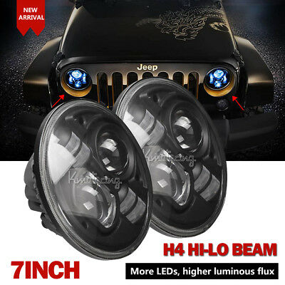 2X 7inch 200W CREE H4 Hi-Lo Beam Projector LED Headlights For Jeep Wrangler JK