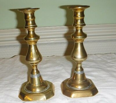 Antique/Vintage Pair Of Candlesticks Brass 8 1/4 Inches With A Pewter? Band
