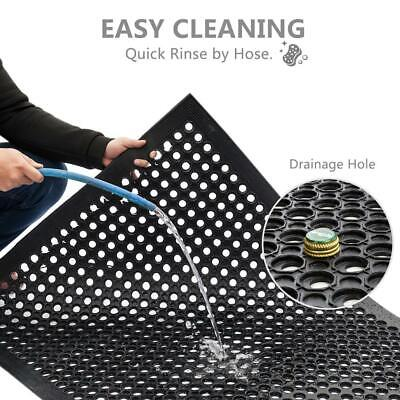 "Heavy Duty Floor Mat Anti Fatigue Kitchen Bar Rubber Drainage Black 36"" x 60"""