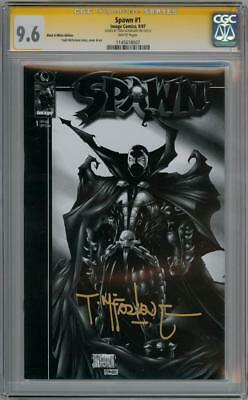 Spawn #1 Black & White Variant Cgc 9.6 Signature Series Signed Todd Mcfarlane