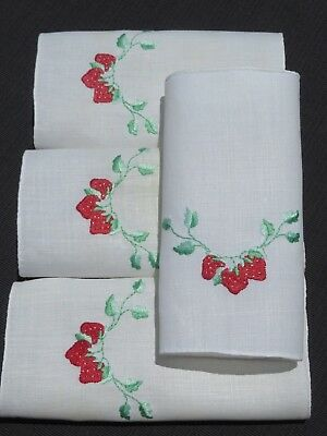 Vtg Antique 4 Cocktail Napkins LINEN Madeira Plump Strawberry Hand Embroidery