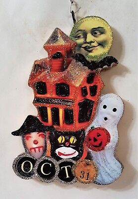 HAUNTED HOUSE, GHOST, OCT 31, CAT, WITCH * Glitter HALLOWEEN ORNAMENT * Vtg Img