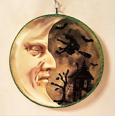 MAN in the MOON, WITCH FLYING, SPOOKY HOUSE Glitter HALLOWEEN ORNAMENT * Vtg Img