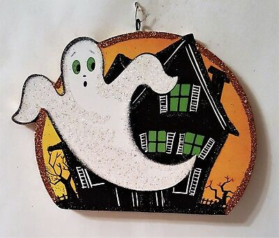 GHOST FLYING from HAUNTED HOUSE, MOON * Glittered  HALLOWEEN ORNAMENT * Vtg Img