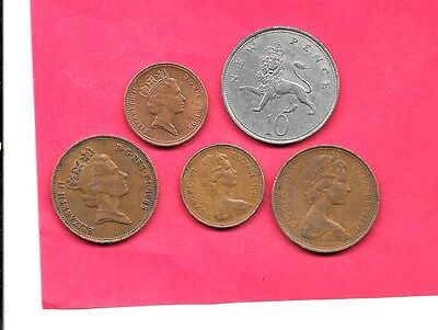 Great Britain Gb Uk 5  Different 1970-1996 Used Coin Lot Collection Set W Old