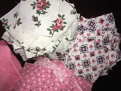 "Vintage Fabric Quilt Pieces 2""x2"" Squares Pink Lot*Estate Find Flowers Over 300+"