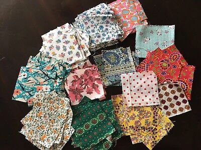 "Vintage Fabric Quilt Pieces 3""x3"" 112 Pieces-various Prints Estate Find"
