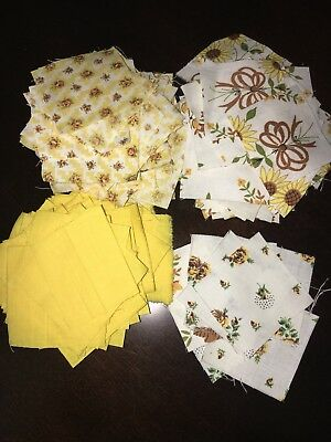 "Vintage Fabric Quilt Pieces 2""x2"" Squares Yellow Lot *Estate Find 100+ Pieces"