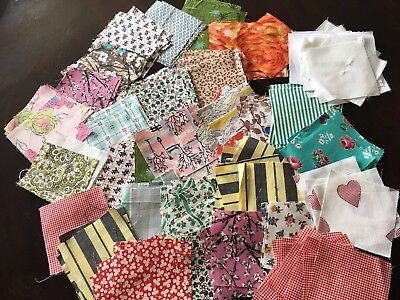 "Vintage Fabric Quilt Pieces 3.5"" X 3.5"" Various Prints Estate Find! 132 Pieces"