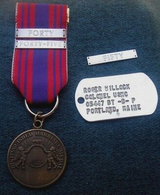 i USMC 30 Years Of Meritorious Service Medal 40 45 50 Bars 925 Silver & Dog Tag