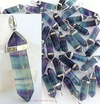FLUORITE Crystal Point Pendant Necklace purple green blue healing chakra Jewelry