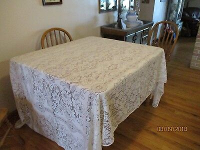"""Lovely big vintage lace tablecloth 66""""x 110"""""""