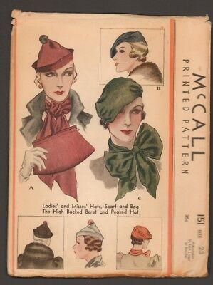 """Original 1933 McCall Hat Bag and Scarf Pattern 23"""" Headsize"""