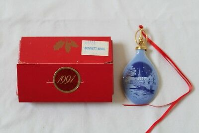 Bing & Grondahl Christmas Drop Ornament 1991 Copenhagen Stock Exchange W/ Box