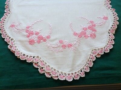 "Vintage White Linen Runner W/ Pink Embroidery and Crochet 45"" X 15"" #4C"