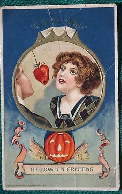 Copyright 1912 John Winsch HALLOWEEN GREETING Postcard, Heart on a String!