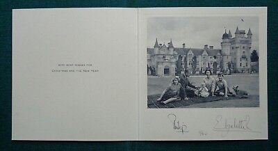 Queen Elizabeth II Prince Philip Signed Christmas Card Royal Family 1960