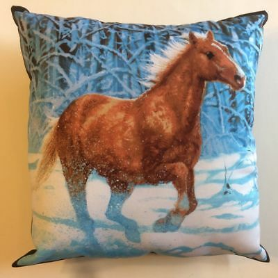 New Beautiful Brown Horse Galloping In The Snow Complete 15X15 Throw Pillow #3