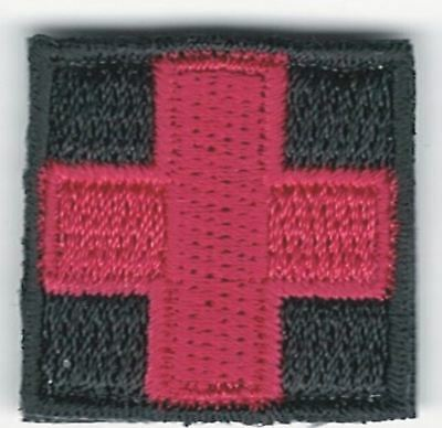 "1"" Red Black Medic Red Cross Patch VELCRO® BRAND Hook side only"