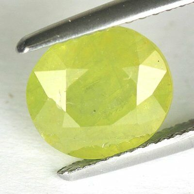 3.05 cts.9.3 x 8.4 mm. UNHEATED NATURAL GREEN SPHENE OVAL MADAGASCAR