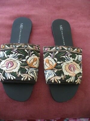 M&S Black Floral Embroidered Mules Flats Sandals Size 6