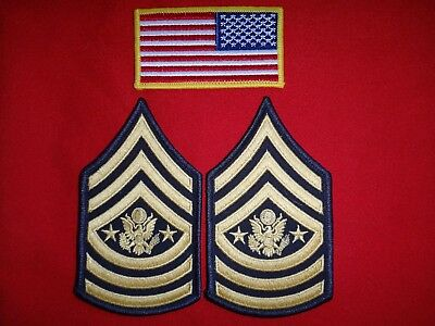 USA Reversed Flag Patch + Pair Of US SERGEANT MAJOR Of The ARMY Chevrons
