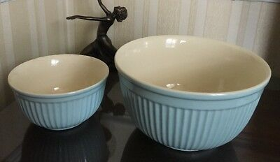 Typhoon Vintage Kitchen Blue Mixing Bowls 10 & 7 Inches