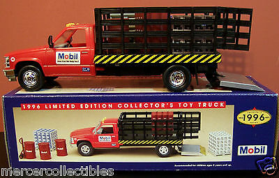 1996 MOBIL Diecast & Plastic STAKE TRUCK with Cargo (Working Head & Tail Lights)