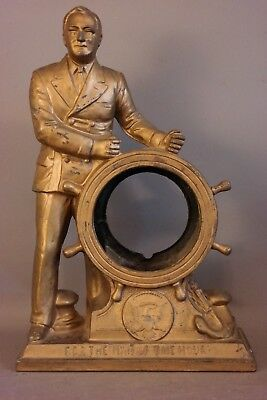 Antique FDR Figural FRANKLIN D. ROOSEVELT STATUE Old SHIP WHEEL CLOCK CASE