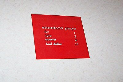 NEW NOS AMI Continental II 2 PRICE OF PLAYS Card Display Plastic Rowe #2 RED