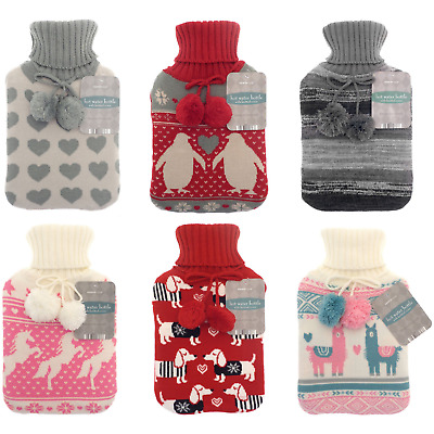 Large 2L Natural Rubber Hot Water Bottle With Warm Knitted Pattern Pom Pom Cover
