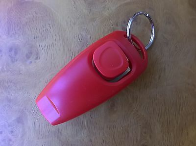 Dog Training Clicker With Whistle And Keyring Tag (Brand New) Red