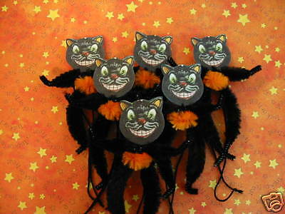 Primitive Vintage Style Halloween Black Cat Ornaments Chenille Feather Tree