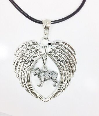 English Bulldog  Dog  Lovers Angel Wings Memory Leather Necklace