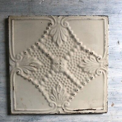 "11"" x 11"" 1890's Wrapped Tin Ceiling Tile Reclaimed Salvage Ivory 467-18"