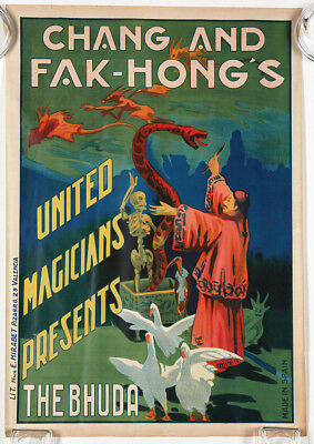 Antique 1920s Great Chang Fak Hong's Art Deco Magic Poster Buddha Orientalist NR