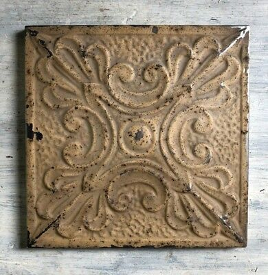 "11"" x 11"" 1890's Wrapped Tin Ceiling Tile Reclaimed Salvage Brown 470-18"