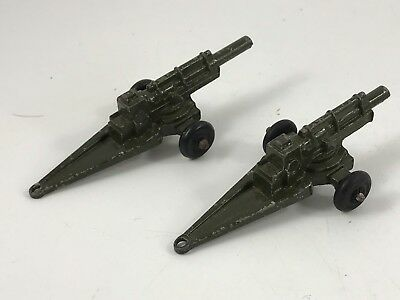 Pair Of Vintage 1950'S Era Midgetoy Die Cast Charcoal Gray Military Vehicles