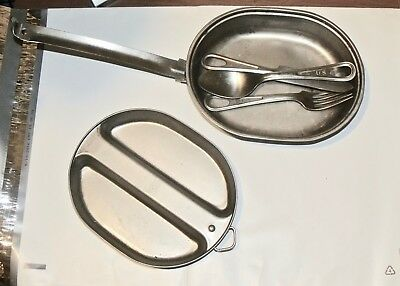 Camping Military Pan Mess Kit With Utensils US ARMY Cookware Outdoor Dish